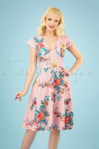 50s Bianca Bouquet Swing Dress in Pink