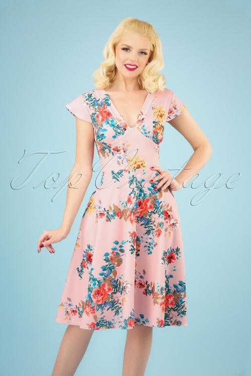 Vintage Chic 28767 Pink Floral Dress 20190312 040M w