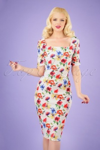 Vintage Chic 30035 Dress White Floral 20190408 040M w