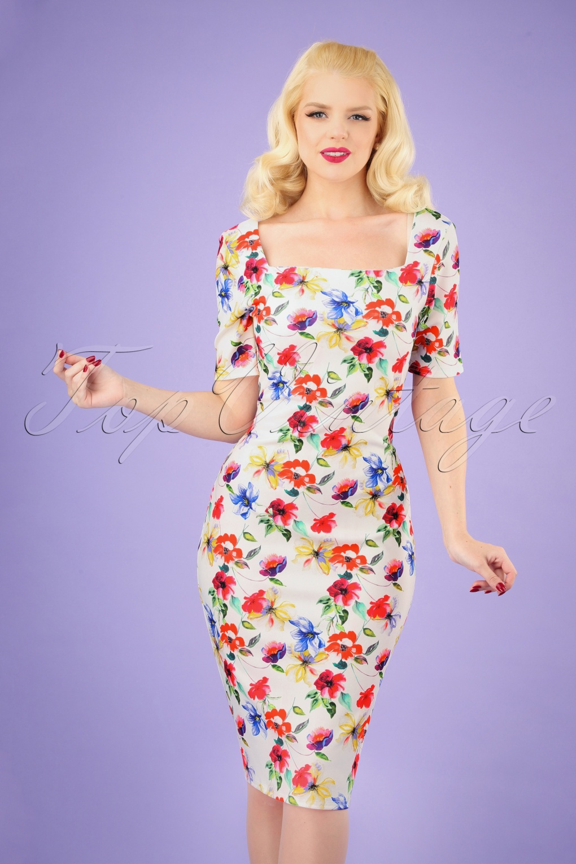 Retro Tiki Dress – Tropical, Hawaiian Dresses 50s Phoebe Floral Pencil Dress in White £35.02 AT vintagedancer.com