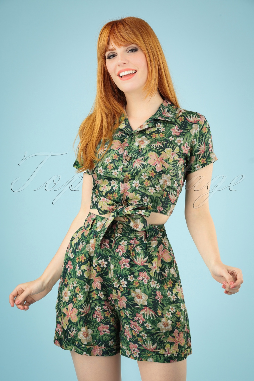 New Fifties Dresses | 50s Inspired Dresses 50s Tricia Tropical Shorts in Green £25.07 AT vintagedancer.com