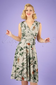 50s Jane Floral Midi Dress in Pastel Green