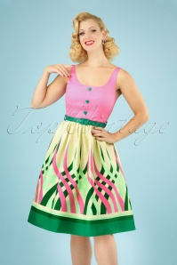 Vixen Sabrina Watermelon Border Swing Dress Années 60 en Rose