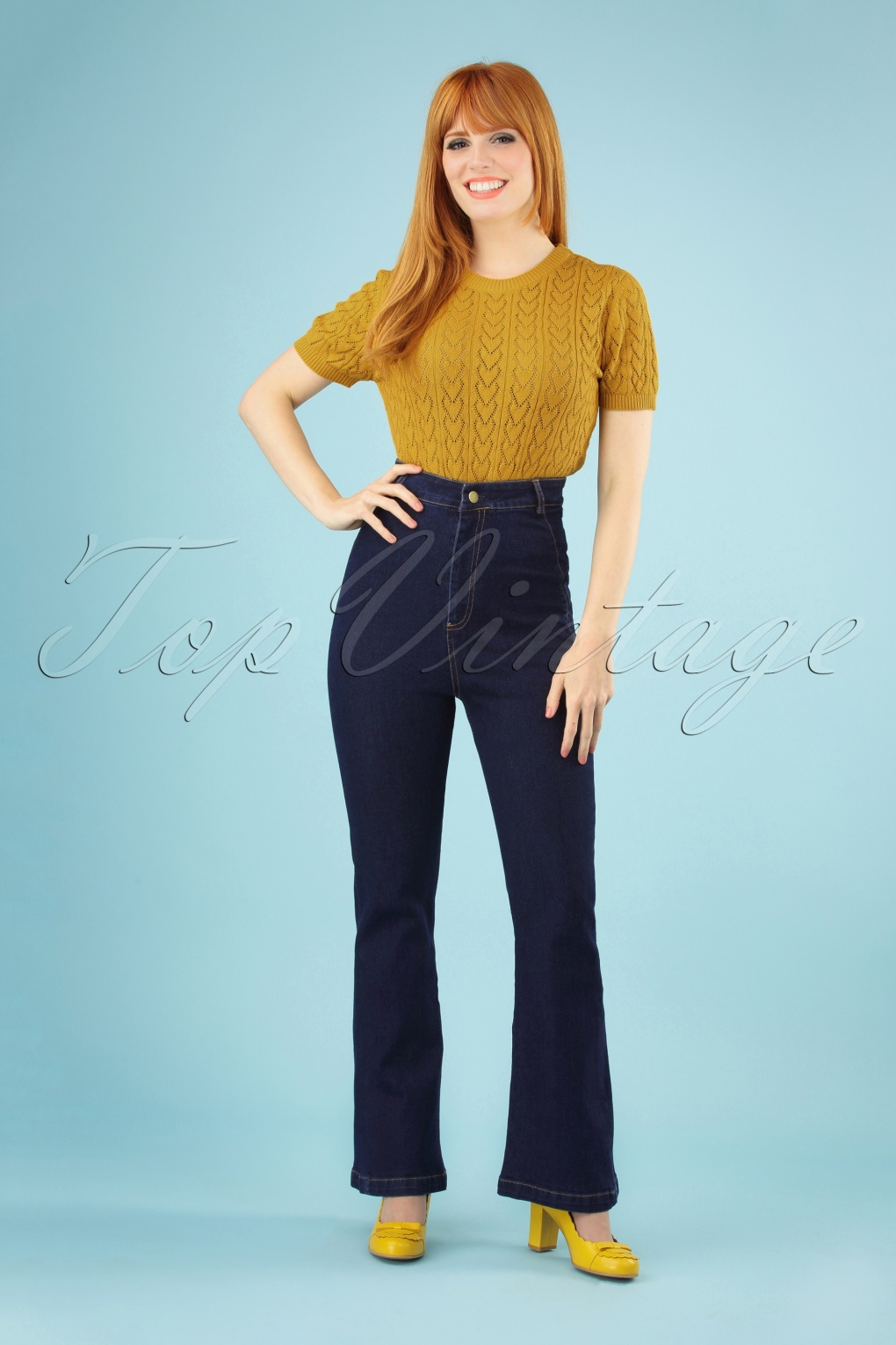 60s – 70s Pants, Jeans, Hippie, Bell Bottoms, Jumpsuits 70s Loretta High Waisted Bell Bottom Trousers in Denim �37.92 AT vintagedancer.com