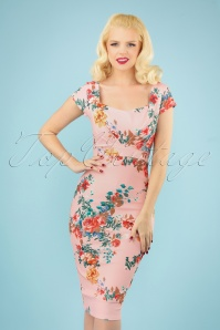 Vintage Chic 28774 Pink Flower Pencil Dress 20190327 040MW