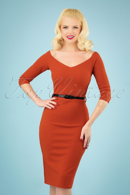 Vintage Chic 28954 50s Neila Cinnamon Pencil Dress 20190326 040MW