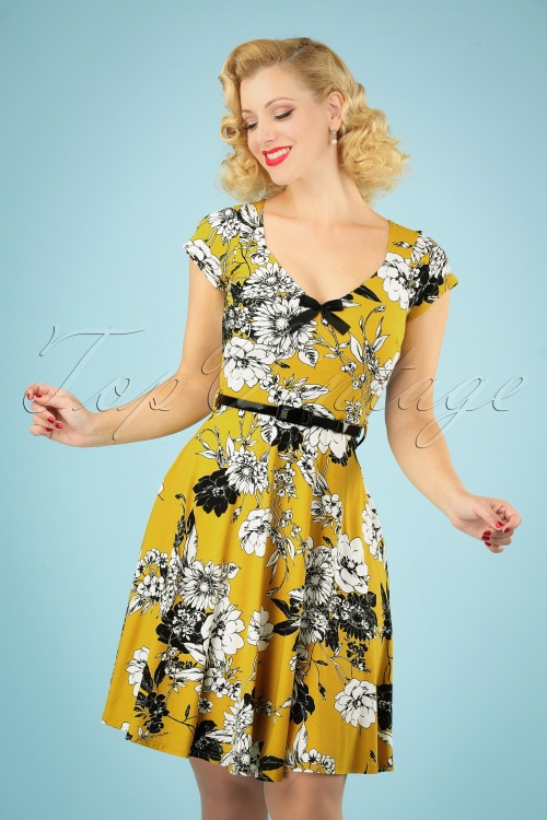 TopVintage Boutique Collection 28925 Mustard Floral Dress 20190327 040MW