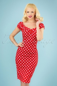 Collectif Clothing 50s Dolores dress red white polka dot retro
