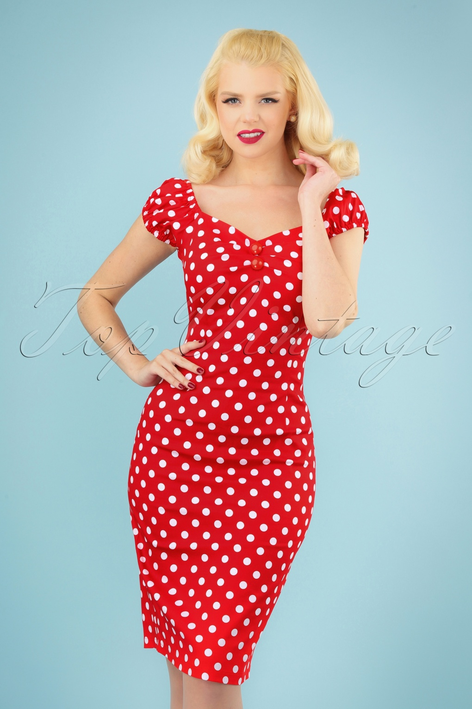 1950s Dresses, 50s Dresses | 1950s Style Dresses 50s Dolores dress red white polka dot retro £24.95 AT vintagedancer.com