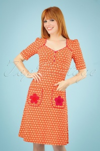 60s Lola Drops Dress in Orange