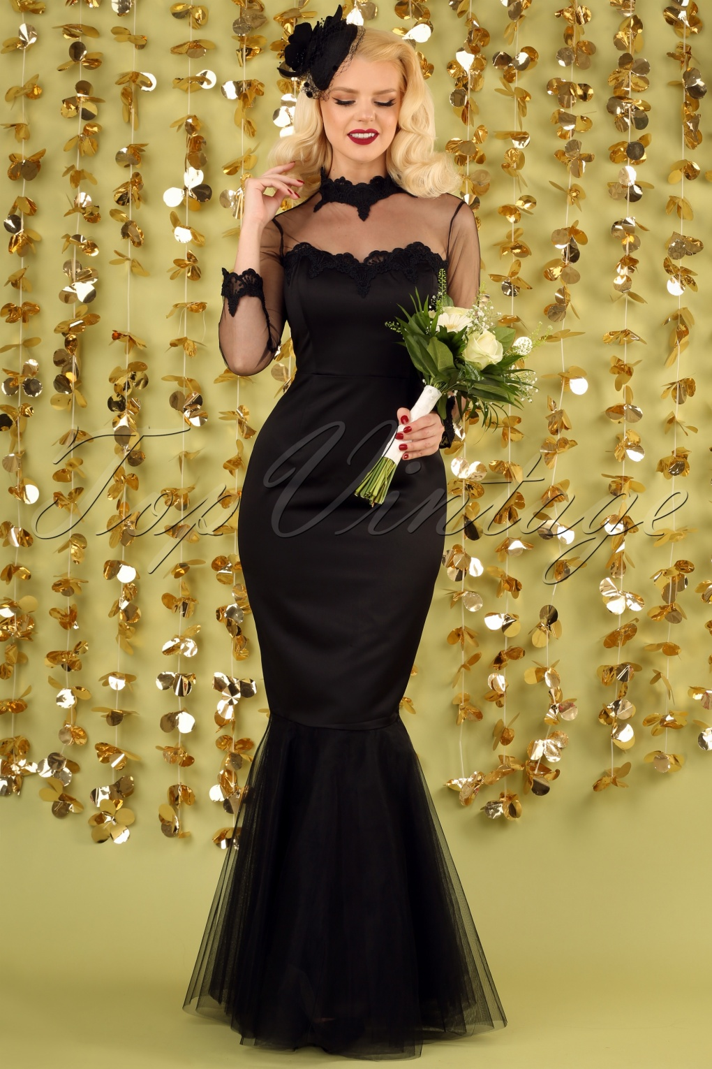 Vintage Evening Dresses and Formal Evening Gowns 50s Lucrezia Occasion Fishtail Maxi Dress in Black £77.82 AT vintagedancer.com