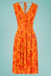 50s Jane Floral Midi Dress in Orange