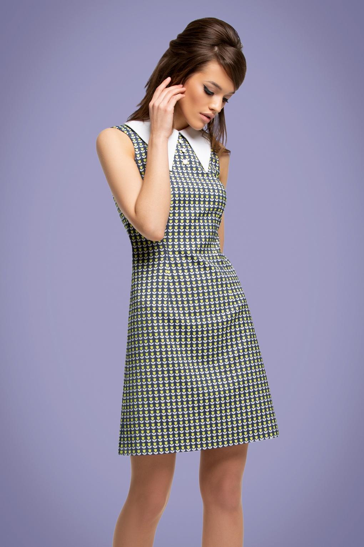 1960s Dresses | 60s Dresses Mod, Mini, Jackie O, Hippie 60s Mod Tulip A-Line Dress in Navy �127.96 AT vintagedancer.com