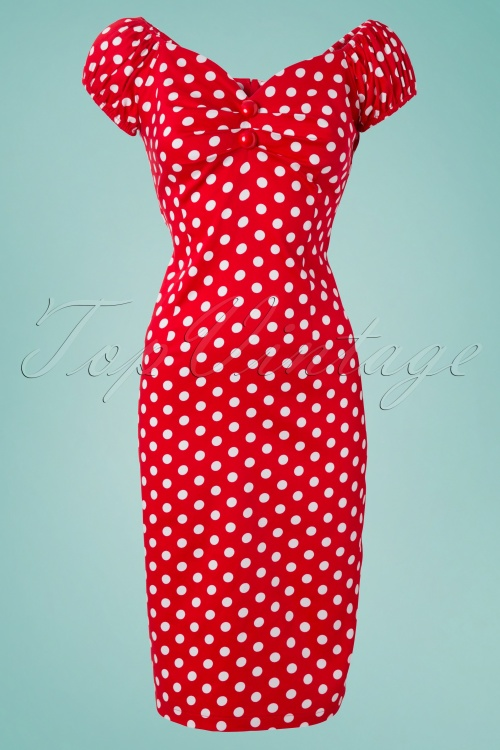 730c7238c26470 COLLECTIF 50s Dolores dress red white polka dot retro jurk rood w