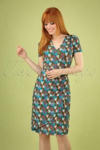 60s Sea Mini Flower Wrap Dress in Blue