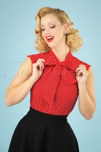 Retrolicious 60s Heart Dot Bow Top in Red and White