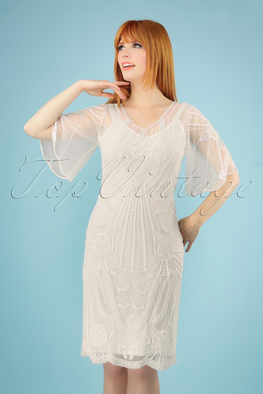 1930s Dresses, Shoes, Lingerie, Clothing UK 20s Kate Flapper Dress in Ivory �125.54 AT vintagedancer.com