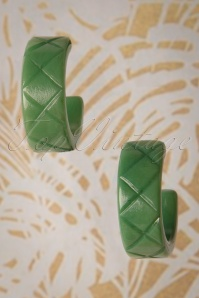 Splendette TopVintage Exclusive ~ 50s Sage Carved Hoop Earrings in Green