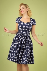 50s Summer Swan Swing Dress in Navy
