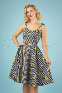 50s Lemons And Stripes Dress in Navy and White