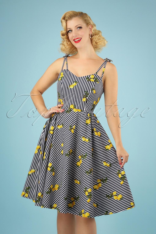 Retro Tiki Dress – Tropical, Hawaiian Dresses 50s Lemons And Stripes Dress in Navy and White �43.75 AT vintagedancer.com