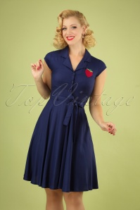 60s Penny Strawberry Dress in Navy