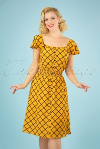 Bright and Beautiful 70s Pat Harlequin Stitch Dress in Yellow