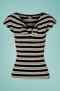 TopVintage Boutique Collection 30034 Black Cream Striped Top 20190404 002W