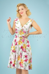 50s Grecian Floral Dress in White