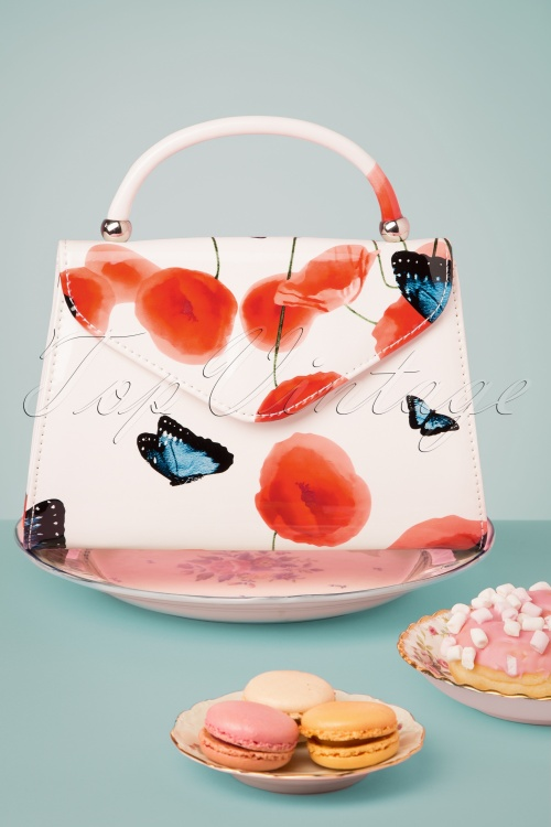 La Parisienne 30603 Bag White Butterfly Tulip Red Blue Handbag New 20190430 002