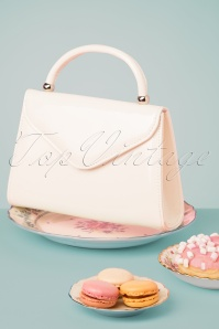 60s Lillian Lacquer Flap Bag in Off White