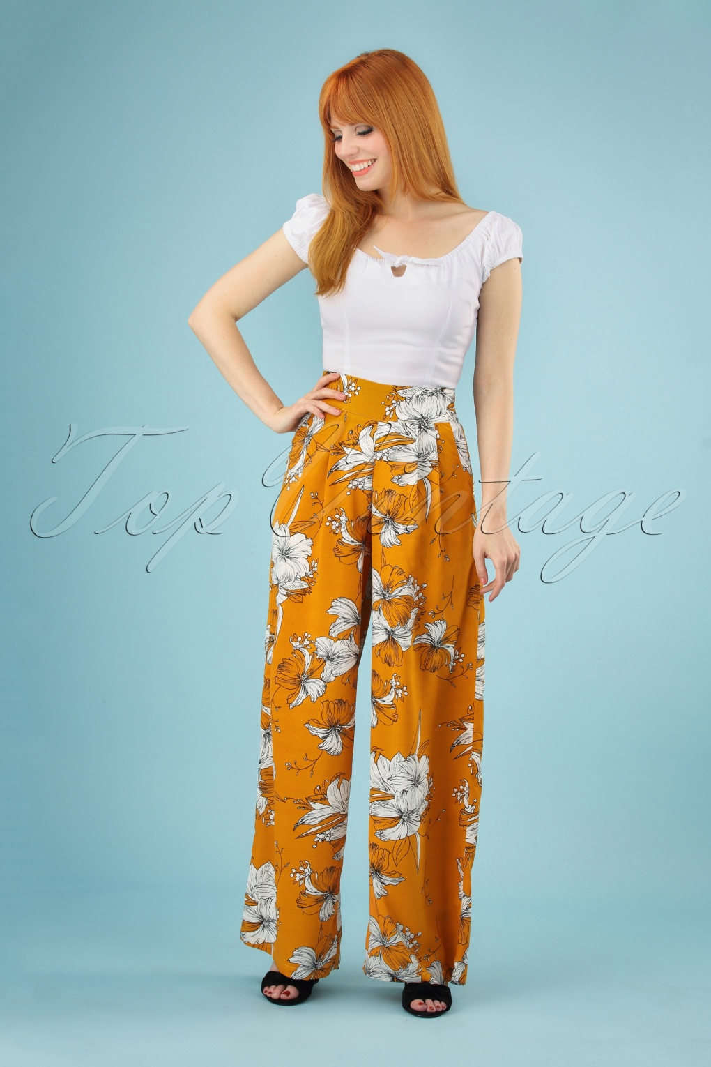 60s – 70s Pants, Jeans, Hippie, Bell Bottoms, Jumpsuits 70s Stephanie Floral Palazzo Trousers in Mustard �33.50 AT vintagedancer.com