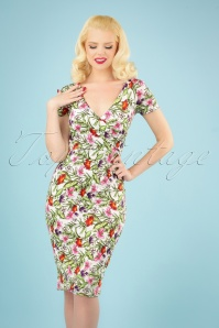 50s Kristy Vintage Bouquet Pencil Dress in White