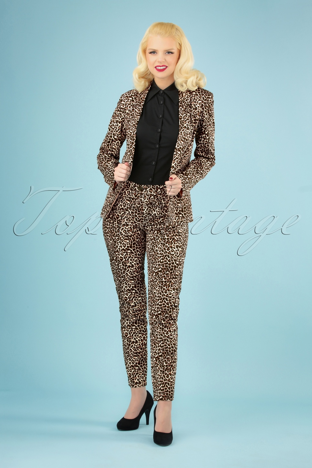 60s – 70s Pants, Jeans, Hippie, Bell Bottoms, Jumpsuits 60s Nelly Trousers in Leopard £32.14 AT vintagedancer.com