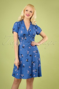 50s Swallow Floral Swing Dress in Night Blue