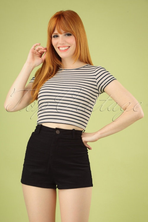 Bright and Beautiful 27584 Madison Cord shorts in Black 20181217 040MW