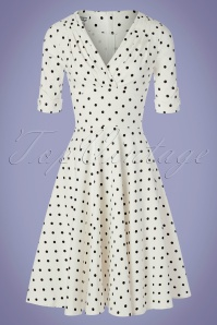 Unique Vintage 29944 Swingdress Whiteandblack Dots Dolores 20190508 0010W