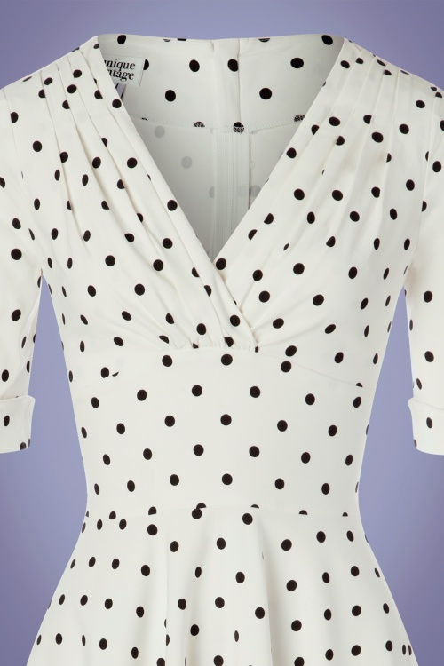 50s Delores Dot Swing Dress in White and Black