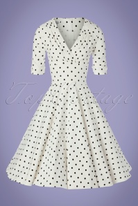 Unique Vintage 29944 Swingdress Whiteandblack Dots Dolores 20190508 0003W
