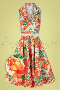 50s Hello Darling Dress in Tropical Orange