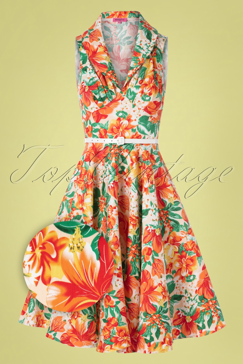 Pin Up Dresses | Pinup Clothing & Fashion 50s Hello Darling Dress in Tropical Orange �97.11 AT vintagedancer.com