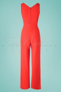 Vintage Chic 30421 Scuba Crepe Orange Jumpsuit 20190509 008W