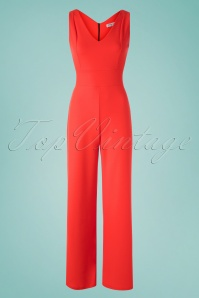 Vintage Chic for TopVintage Xenia Jumpsuit Années 70 en Orange Fiesta
