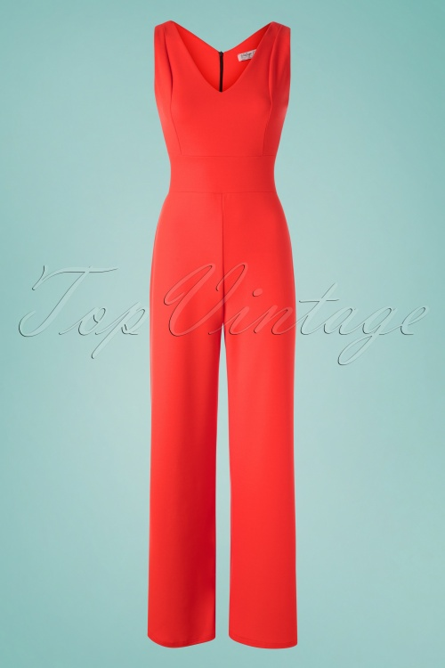 Vintage Chic 30421 Scuba Crepe Orange Jumpsuit 20190509 002W