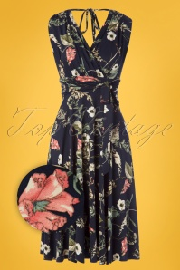 50s Jane Floral Midi Dress in Navy