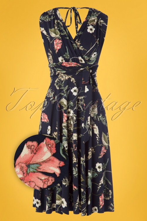 Vintage Chic 30590 50s Jane Floral Blue Dress 20190509 002Z