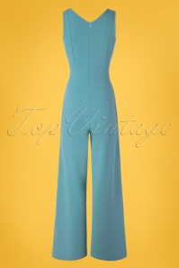 Vintage Chic 30422 Scuba Crepe Blue Jumpsuit 20190509 011W