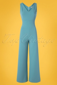 Vintage Chic for TopVintage 70s Xenia Jumpsuit in Pretty Blue