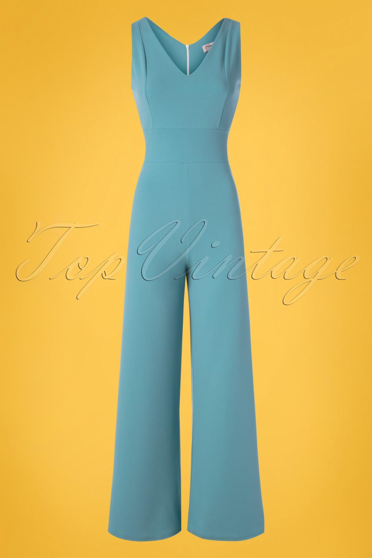 70s Jumpsuit | Disco Jumpsuits – Sequin, Striped, Gold, White, Black 70s Xenia Jumpsuit in Pretty Blue �52.92 AT vintagedancer.com