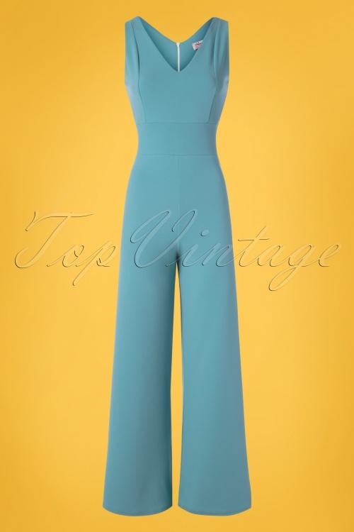Vintage Chic 30422 Scuba Crepe Blue Jumpsuit 20190509 003W